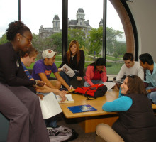 Students studying in Panasci Lounge
